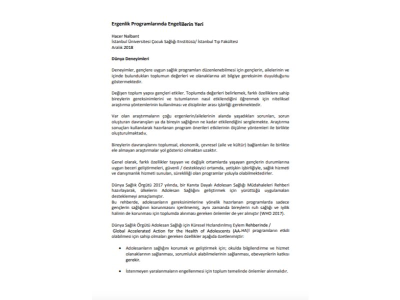 Ergenlik Programlarında Engellilerin Yeri bilgi notu, Aralık 2018